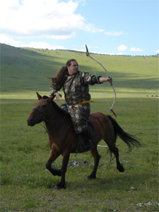 Luigi practicing Mounted Archery in Mongolia